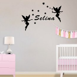 Wholesale Blue Star Packaging - Two Fairies Around Kids Name Personalized Wall Stickers Stars Decor Decals for Girls Room
