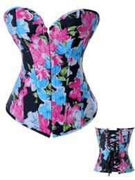 Wholesale Satin G String Plus Size - Free Shipping Lady's Girl's Women's multicolor Underbust Corset tops with free Tong G-string silky Satin Plus Size Floral The best Shapewear