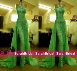Wholesale Nude Sparkly Dresses - 2016 Green Full Lace Evening Dresses Chiffon Sweep Train Sexy High Side Split Long Prom Gowns with Sparkly Crystals Halter Neck Formal Wear