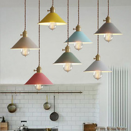 Wholesale energy saving halogen bulbs - Modern metal hanging lighting macarons color umbrella iron pendant lamp Vintage bulb Dining Room cafe hotel Bar suspension Light