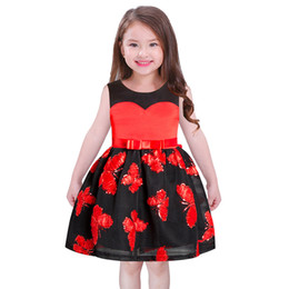 Wholesale Sleeveless For Summer Cartoon - Sequins butterfly princess dress for girls gauze cartoon printed Bows belt vest dress Christmas New years children party dress R0989