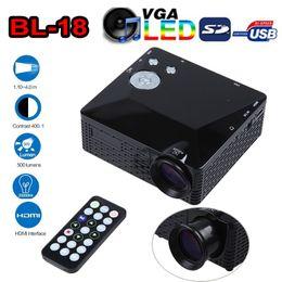 Wholesale Hdmi 18 - 2016 New BL-18 Mini LED Projector 500 Lumen HDMI Full HD Portable Pico LCD Home Theater Multimedia AV VGA SD USB HDMI Beamer Games Proyector