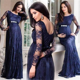 c16763ab62da5 Vestidos de noche largos de maternidad de encaje Vestidos de fiesta de  baile formal azul marino oscuro Celebrity Vestidos de manga larga de escote  redondo ...