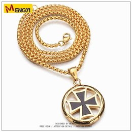 Wholesale Mens Red Cross Necklace - 2018 Mens Hip Hop Jewelry Circle with The Cross Necklace Gold Chain Popular Fashion The band and Street Dance Pendant Jewelry