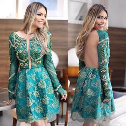 Wholesale Short Turquoise Cocktail Dress - Turquoise Short Backless Cocktail Dresses 2017 Arabic Said Mhamad Long Sleeves Lace Appliques Scoop Neckline Mini Short Prom Party Gowns