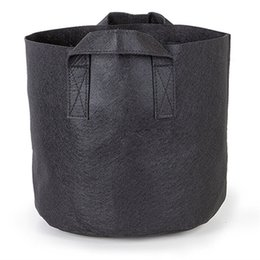 Wholesale growing vegetable plants - Non Woven Grow Bag With Strap Handles Vegetable Plant Aeration Fabric Planters Breathable Garden Flower Pots Black 55sj CB