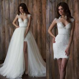 Wholesale Cheap Full Skirts - 2016 New Short Full Lace Wedding Dresses With Detachable Skirt Sheer Straps Backless Sheath Elegant Overskirts Bridal Gowns Cheap Custom