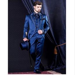 Wholesale Mens Embroidered Wedding Suits - Wholesale- Custom Made 2017 blue black Mens Suits embroidered Wedding Suits For Men Groom Tuxedos Three Piece men Suit (jacket+pants+vest)