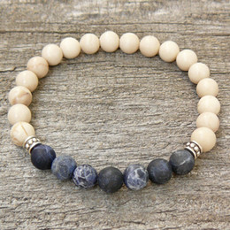 Wholesale Men S Blue Bracelet - SN0329 Men`s 8mm Braizl Blue Strip Stone Bracelet Men natural stone bracelet elastic bracelets wholesale fee shipping