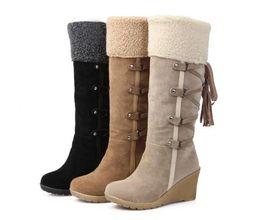 Wholesale Women High Heels 7cm - 2017 hot sale botas femininas women winter boots 7cm high heels knee high boots lady shoes black beige yellow snow boots,size34-41