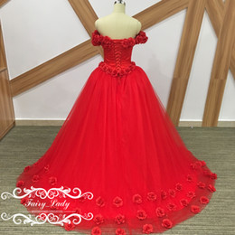 Wholesale Quinceanera Flowers - 100% Real Photos Red Prom Quinceanera Dresses 2017 Stunning Hand Made Flowers Off Shoulder Long Puffy Ball Gown Girls Sweet 16 Dress