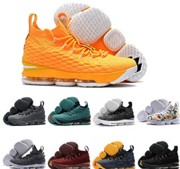 Wholesale Lebron Shoes Mens - Men Basketball Shoes Lebron 15 Sports Shoes Mens Trainer Comfortable Sneakers New Color With Shoe Box Size: 7-12 us