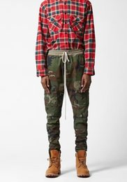 Wholesale Urban Brand Clothing - New S-2XL urban brand-clothing chinos kanye west camo camouflage trousers outdoor joggers men fog cargo side zipper pants