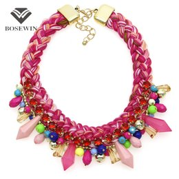 Wholesale Easter Candy Tin - Multicolor Wool Woven Chunky Collar Necklace Women New Statement Jewelry Candy Bead Pendant Choker Charm Accessories CE4063