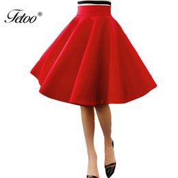 Wholesale Matching Umbrella - Fetoo New High Waist Umbrella Skirt Solid Red Black Knee Length Fashion Space Cotton Pleated Skirt for Female All-match S-XL