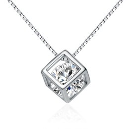 Wholesale Silver Necklace Designs Price - A034 new design Factory Price fashion white cz AAA Quality zircon cube pendant for girls guangzhou wholesale