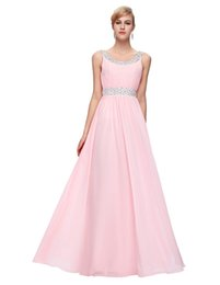 Wholesale Illusion Dinner Dresses - Pink prom dresses 2018 new arrival robe de soiree long O-Neck Floor-Length special occasion dress beadings sequined dinner formal gown