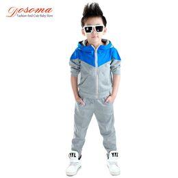 Wholesale Korean Kids Pants For Boy - Kids Clothes Boys 2017 Baby Boys Autumn Hoodied Coats And Jackets Pants Set Korean Fashion Children Clothing Sports Suit For Boy