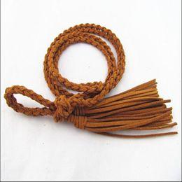 Wholesale Rope Tassel Belt - Wholesale- Free Shipping Beautiful Waist Decorations belt waistband girdleMatte Leather Tassel Women Belts Thin Ceinture Waist Rope