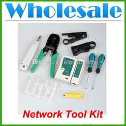 Rj45 netzwerk tester kit online-Großhandel Kabel Tester + Crimp Crimper + RJ45 RJ11 Cat5 Stecker Netzwerk Tool Kit Lots100