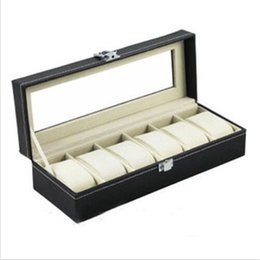 Wholesale organizer bamboo - Wholesale- 6 Grid Jewelry Watch Collection Display Storage Organizer Leather Box Case Storeage Accessories