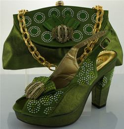 Wholesale Italian Style Shoes Women - Green Newest Casual Style Italian Shoes With Matching Bags ME0067