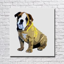 Wholesale Bull Canvas Painting - Decorative design animal pet bull dog oil painting hand painted on canvas art pictures for living room