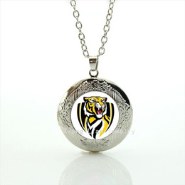 Wholesale Birthday Necklaces For Men - Cool animal tiger picture locket necklace sport rugby Richmond est 1885 jewelry birthday gift for men and boys NF061
