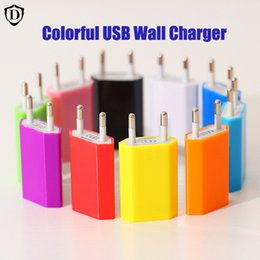 Wholesale Wholesale Color Cellphone Charger - Universal Chargers EU US Plug 5V Full 1A Color Flat Home Wall Charger AC Power Adapter For Cellphone iphone 7 Plus Samsung Phones