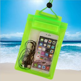Wholesale Zipper Lanyards - Clear Transparent Waterproof Pouch seal bag Universal big size PVC Underwater swimming pocket with Neck lanyard for iphone Samsung new