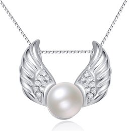 Wholesale Diamante Wings - 925 sterlings silver jewelry pearl pendants for woman girl necklaces charms white gold angel wings shiny crystal diamante 2016 new diy 1pcs