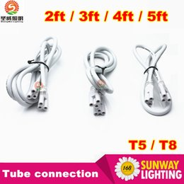 Wholesale Dlc Led Tube - 1ft 2ft 3ft 4ft 5ft Cable for Integrated T8 T5 led tubes lights Connector led extension cord CE ROHS UL DLC