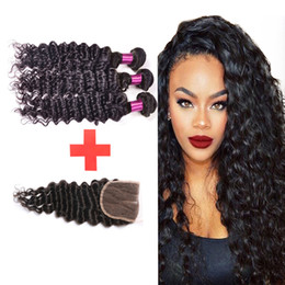 Wholesale Rosa Hair Products - 7a Brazilian Deep Wave With Closure 3 Bundles Rosa Hair Products Brazilian Virgin Hair Deep Wave Bundles With Lace Closure