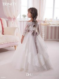 Wholesale Tulle Ribbon Flower Chiffon - 2016 Flower Girls Dresses 3 4 Long Sleeves Bateau Lace Sash Tulle Ivory Baby Girl Birthday Party Christmas Dresses Children Girl Party Dress