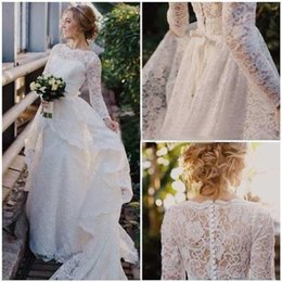 Wholesale Dress Size 18 Sleeves - For Her Latest Design New Long Sleeve Scoop Lace Wedding Dress Bridal Gown Custom Size 4 6 8 10 12 14 16 18