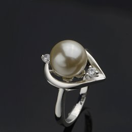 Wholesale Cheap Pearl Ring For Women - Pearl Silver Ring Women Vintage White Crystal Wedding Rings with Gift Box Cheap Jewelry For Girls Wholesale Festival Gifts RG-040