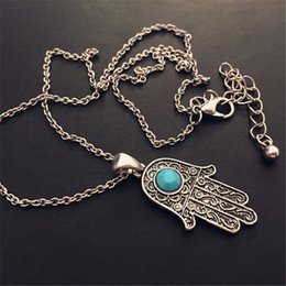 Wholesale Bead Pandant - Hot Sale Vintage Fatima Hand Alloy Metal Chain Pandant Necklace Women Boho Hamsa Chain Necklace Evil Eye Bead Necklace colares