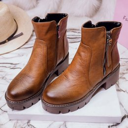Wholesale Zip Line Heels - SJJH Women Fashion Ankle Boots Zipper Round Toe Bootie Lustrascarpe Material Flat Heel Footwear Warm Lining Plus Size Wholesale Price
