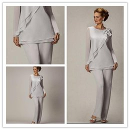Wholesale Mother Groom Outfits - 2017Mother Of The Bride Pant Suits Chiffon Pants Suit For Wedding Mother of the Groom Lady Women Formal Evening Wear mother bride outfits
