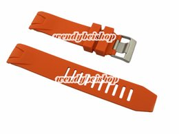 Wholesale Ladies Strapping Men - 20mm(20mm buckle) Men Lady High Quality Orange Silicone Rubber Curved End Watch Strap Silver Brushed Pin Buckle