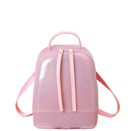 Wholesale Candy Jelly Hand Bags - Fashioneer New Silicon shinning leather women backpack sling lady chic essentials hand bags summer jelly candy color bag M1788