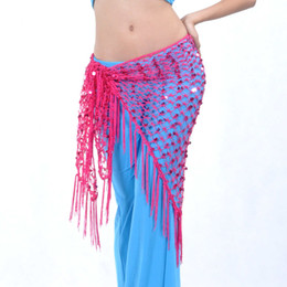 Wholesale Triangle Belly Hip Scarf - New Belly Dance Costume Hip Scarf Belt Triangle Shawl Exercise Belt 11 colours