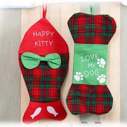 Wholesale Fish Gift Bags - 2 Styles 44*22cm Cartoon Fish Bone Pattern Gift Bag Santa Sack Bag Xmas Christmas Gift Bag With Reindeers CCA7689 120pcs