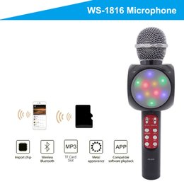 Wholesale Handheld Cell - Free shipping Handheld microphone with Flash LED Lights Family KTV wireless bluetooth microphone portable karaoke speaker for cellphone PC