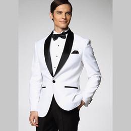 Wholesale Tuxedo Bow Tie Styles - 2016 Top Selling White Jacket Black Satin Lapel Groom Tuxedos More Style Choose Groomsmen Men Wedding Suits (Jacket+Pants+Bow Tie+Girdle)