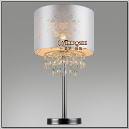 Wholesale Modern Bedding Fabric - Free Shipping Modern Table Lamps Crystal Desk Lamp Bedside Lighting