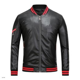 Wholesale Mens Synthetic Leather Jacket - 2017 new men's high quality leather jacket Jacket Mens zipper cardigan T PU hip hop super cheap leather large size m-3xl