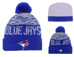 Wholesale Cheap Baseball Beanies - New Blue Jays Beanies Baseball Pom Pom Hats Cheap Winter Caps Brand Sports Team Knitted hat yd