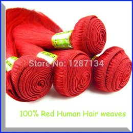 "Wholesale Grade 5a Straight Unprocessed Hair - Grade 5A unprocessed virgin brazilian hair straight RED hair weave 8""--32"" 100g pc remy hair extensions human"