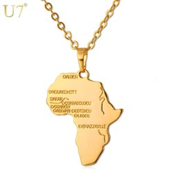 Wholesale Initial Necklace Gold - U7 Hiphop Africa Necklace Gold Color Pendant & Chain African Map Gift for Men Women Ethiopian Jewelry Trendy P544